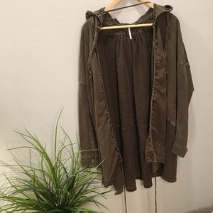 Free people green brown oversized utility jacket
